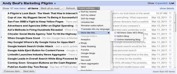 Suggestion on Google reader