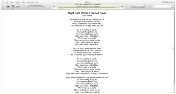 display songs lyrics on itunes windows