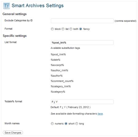 smart archives reloaded settings