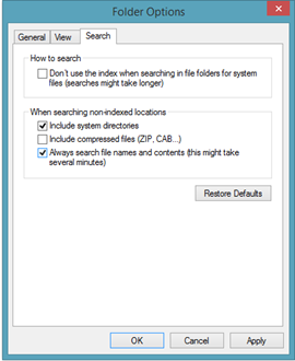 Always search file contents- Windows 8