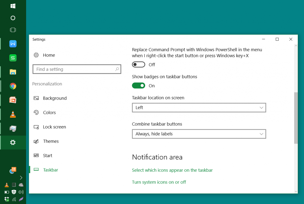 windows 10 how to change noteifacation bar location