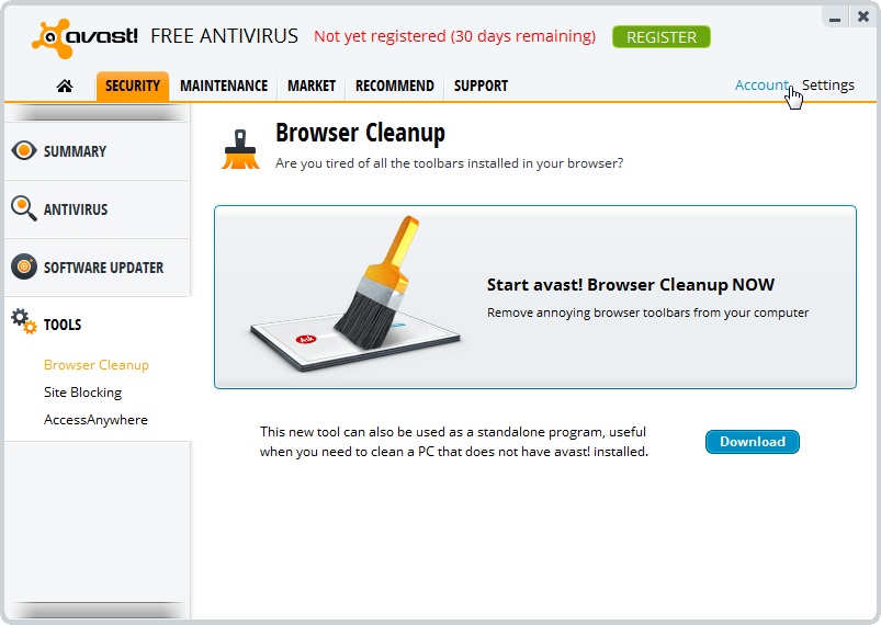 avast free browser cleanup