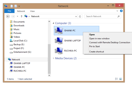 Windows 8 Network Folder- Navigational Pane